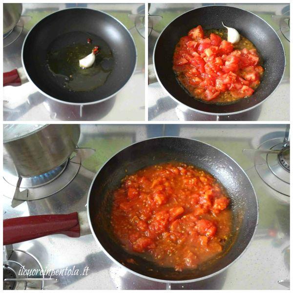 preparare soffritto e aggiungere pomodoro