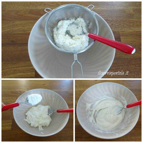 setacciare ricotta e aggiungere zucchero