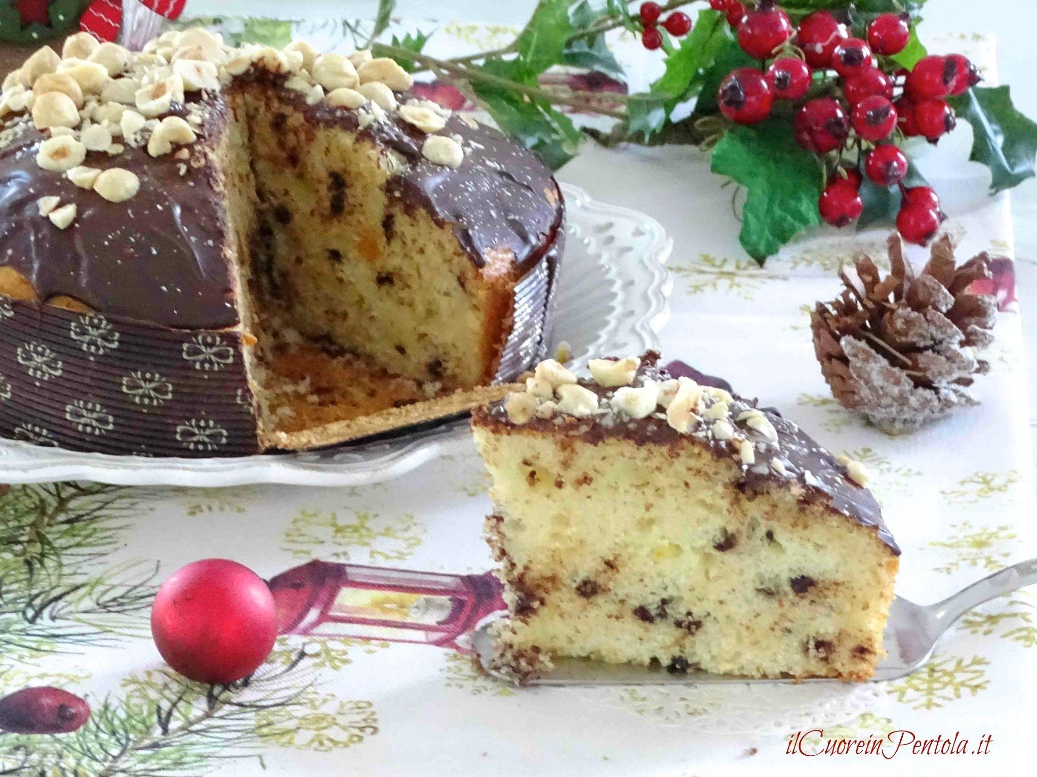 torta panettone al cioccolato fetta