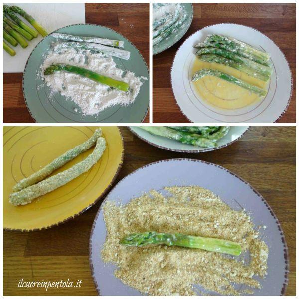 passare asparagi nell'uovo e nel pangrattato