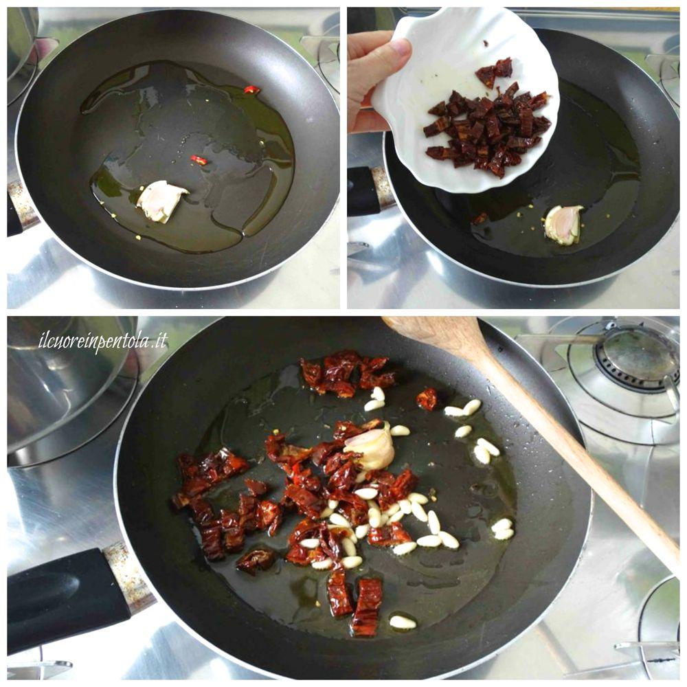 soffriggere aglio e aggiungere pomodori secchi