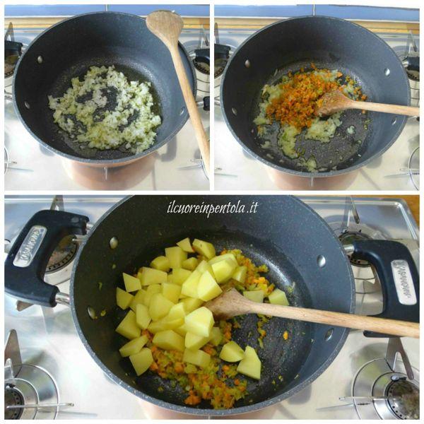 preparare soffritto e aggiungere patate