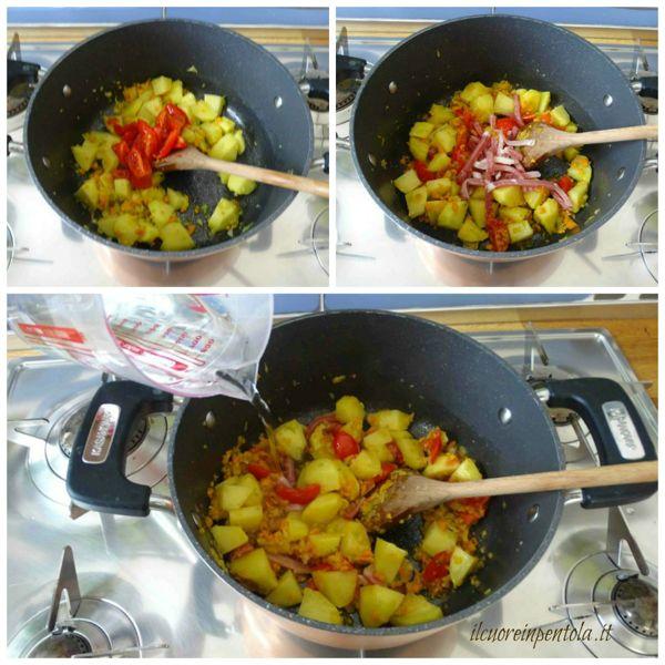aggiungere pomodori e pancetta