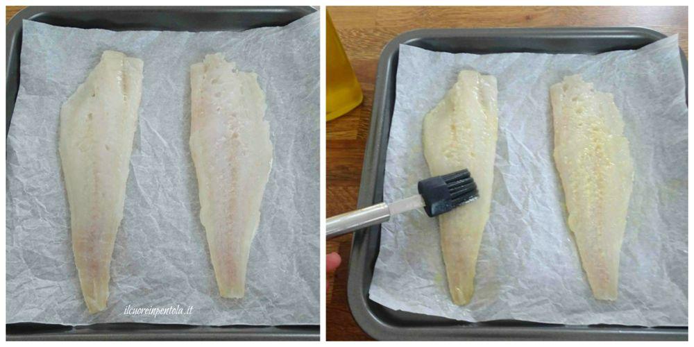 spennellare filetti di pesce con olio