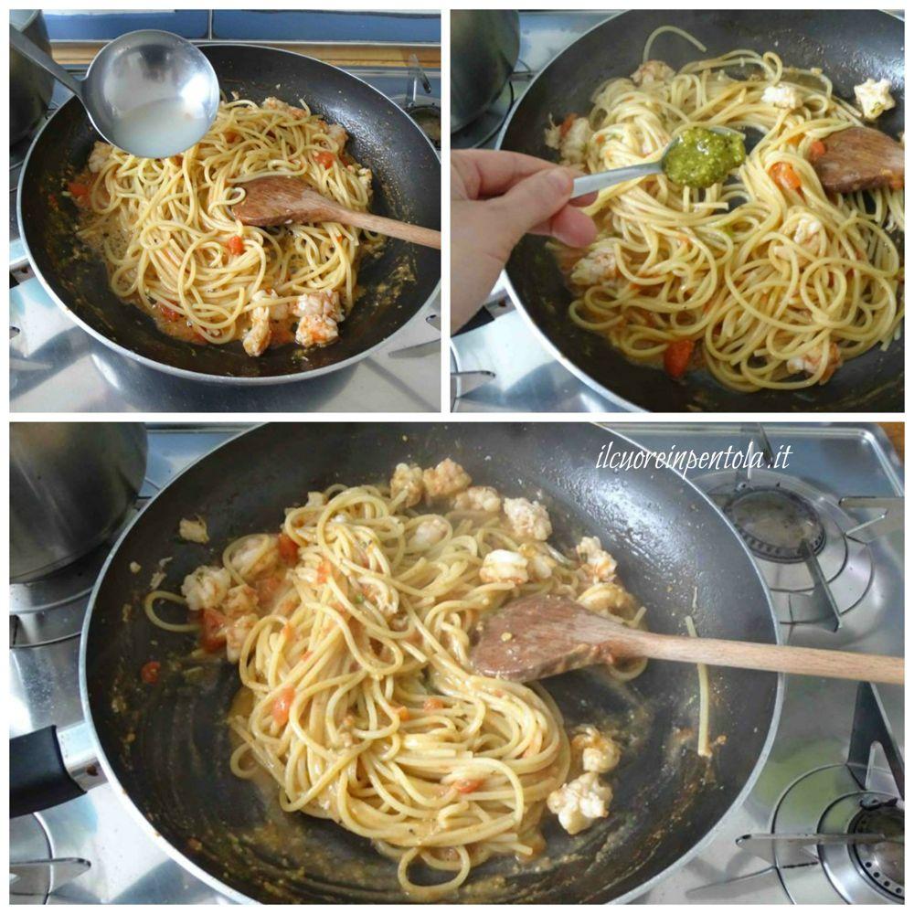 mantecare pasta e aggiungere pesto di pistacchi