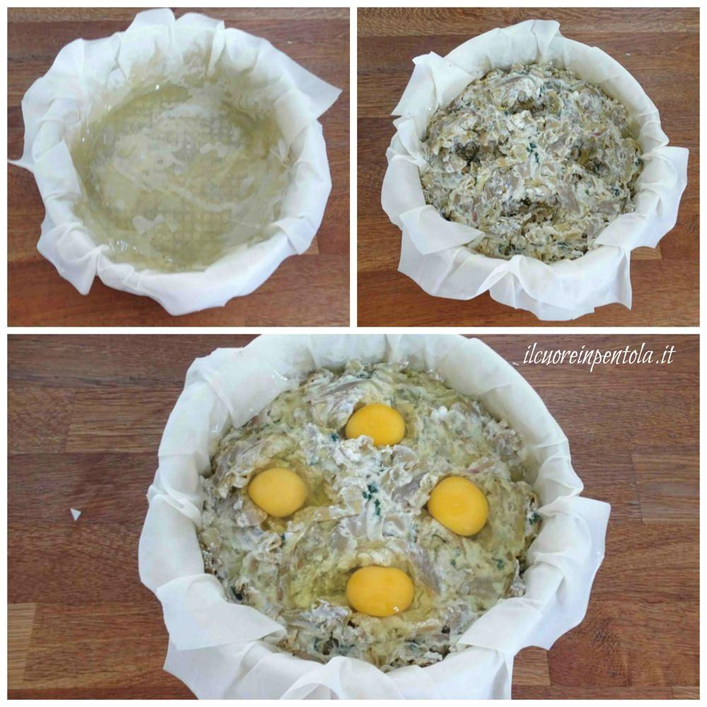 aggiungere carciofi e uova