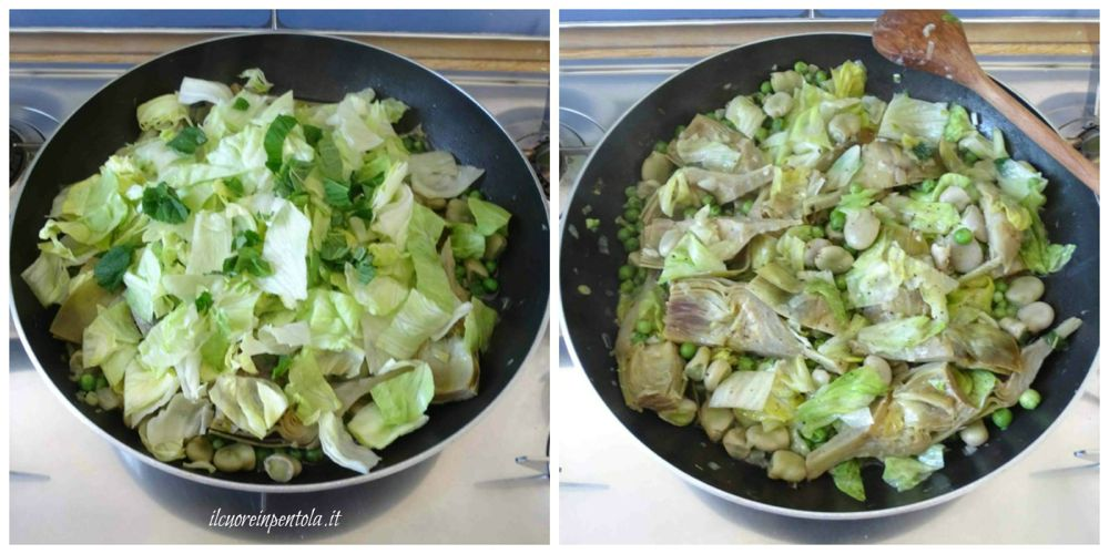 aggiungere lattuga e menta
