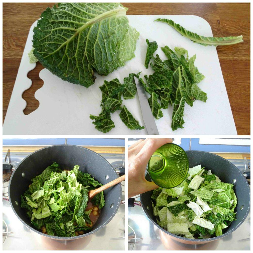 aggiungere verza e cuocere