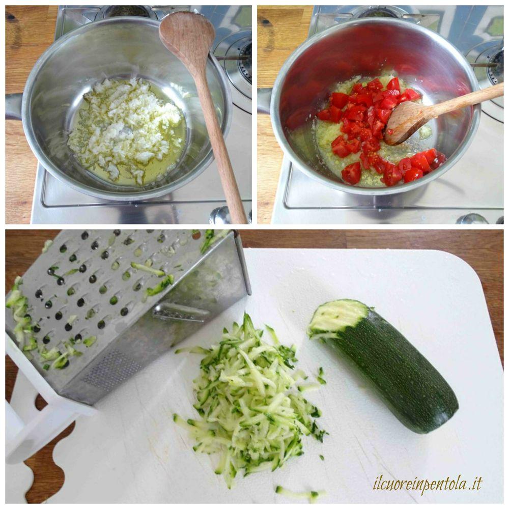 preparare soffritto e grattugiare zucchine