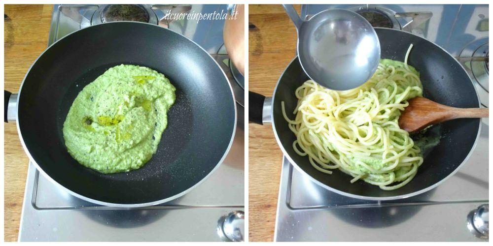 mescolare pasta con crema di zucchine
