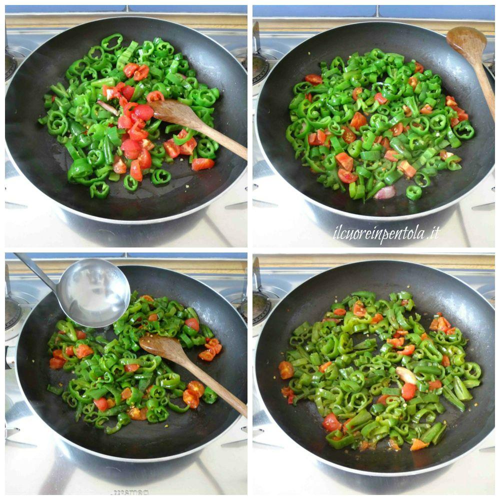 aggiungere pomodori e cuocere