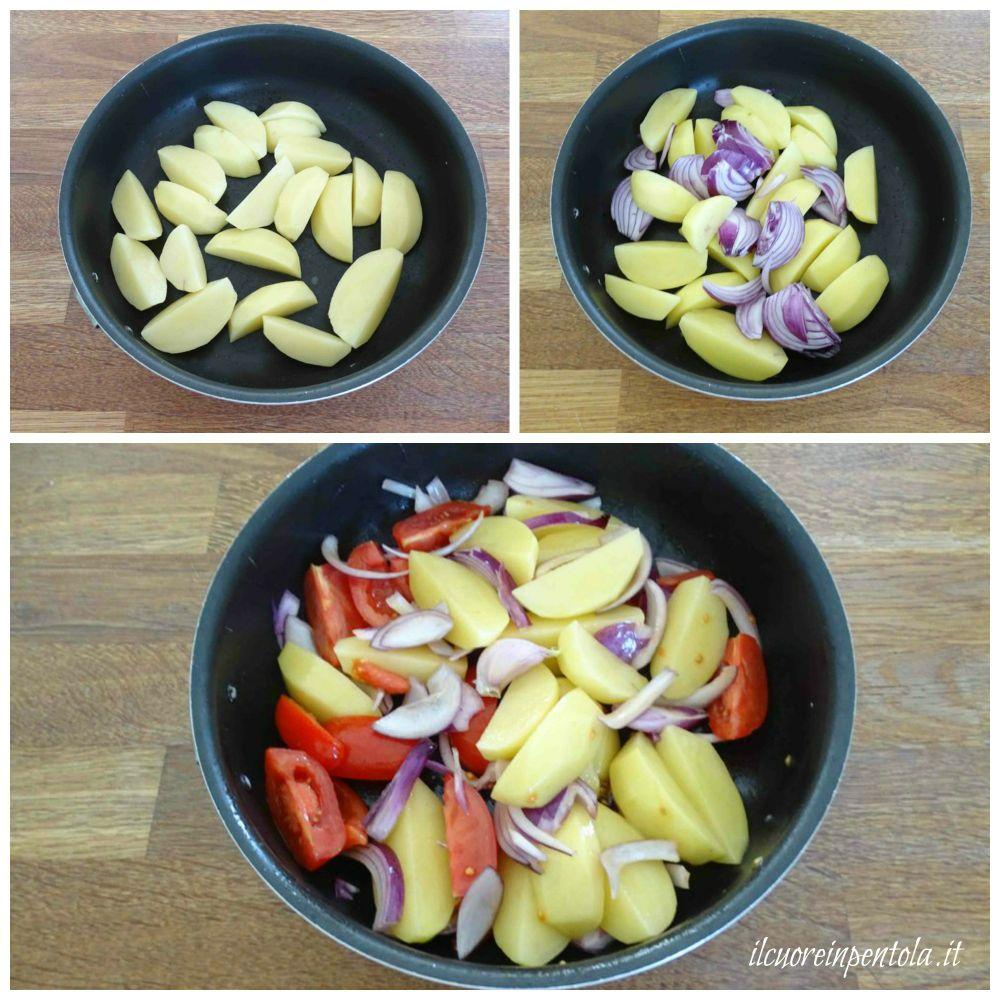 tagliare patate cipolle e pomodori