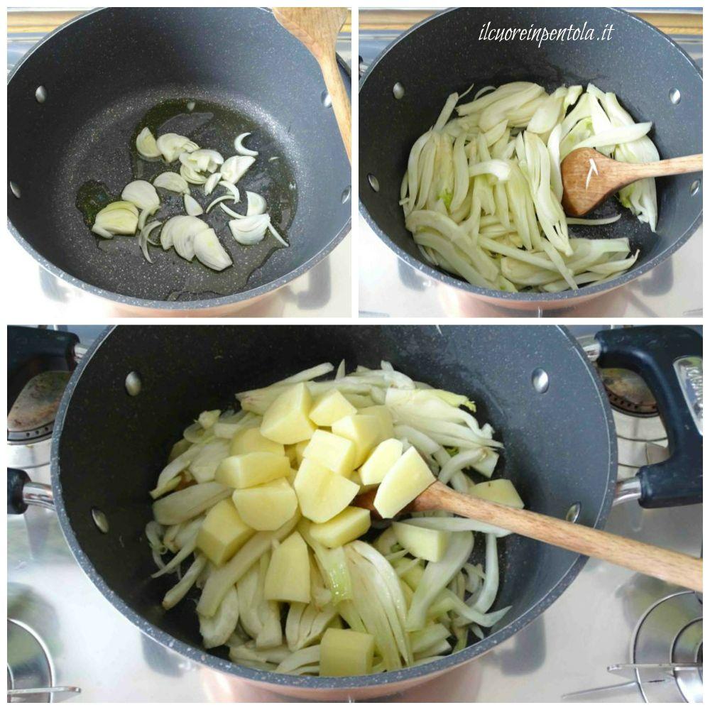 soffriggere finocchi e patate