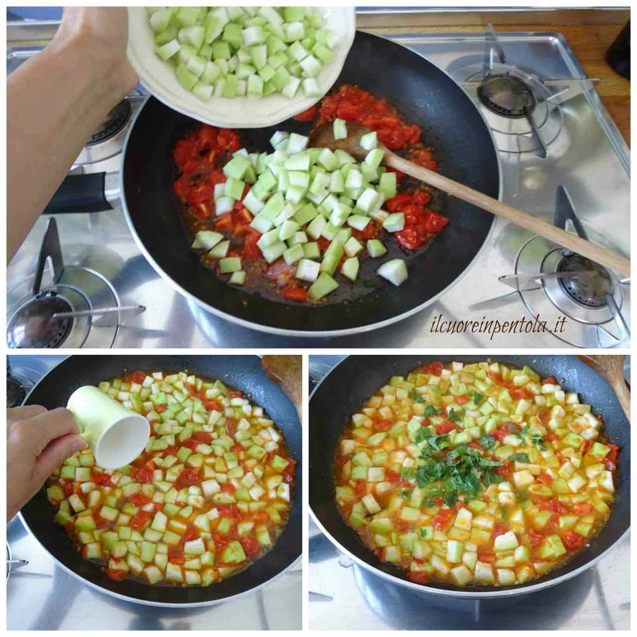 aggiungere zucchina e basilico