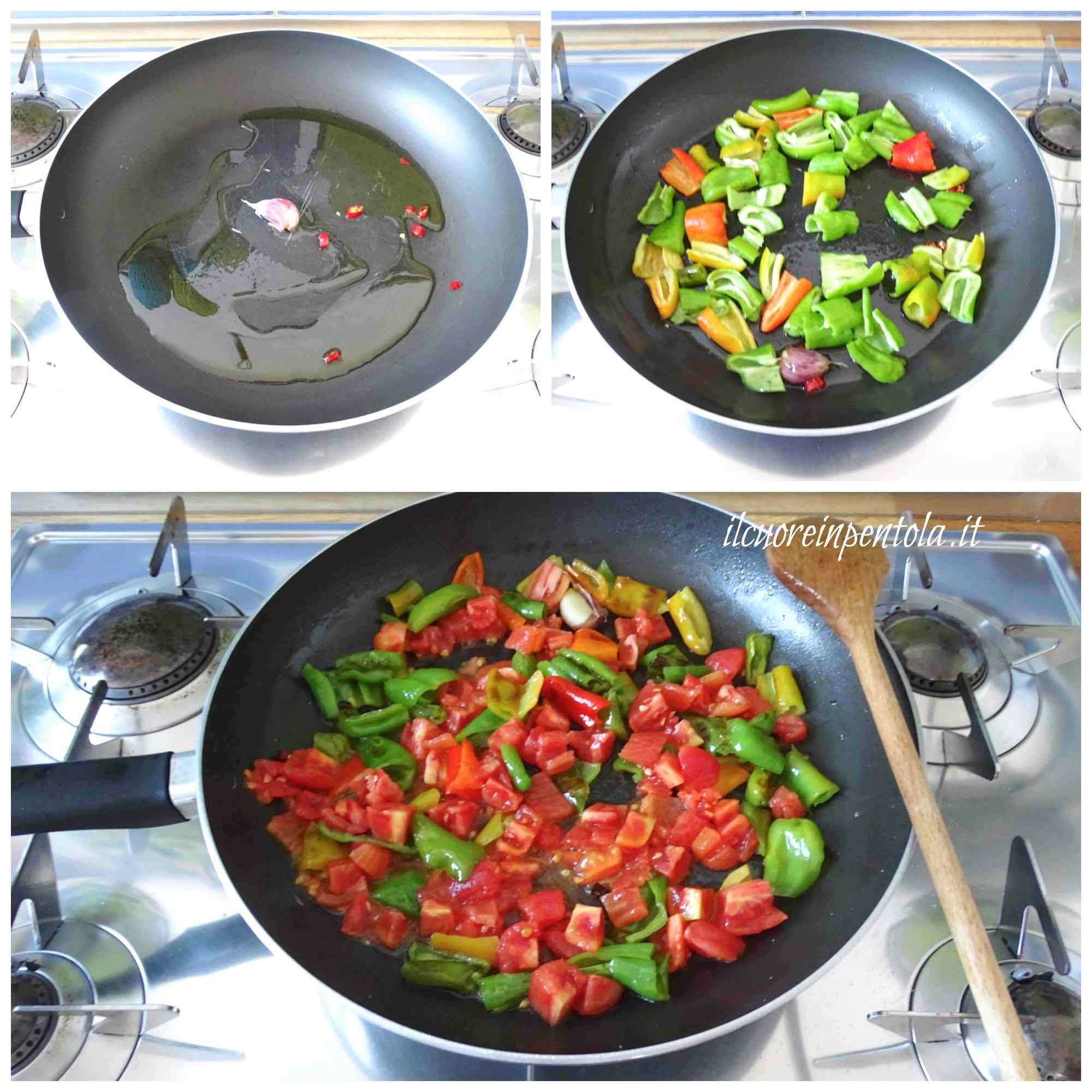 saltare friggitelli e aggiungere pomodoro