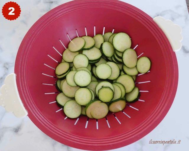 mettere zucchine nello scolapasta