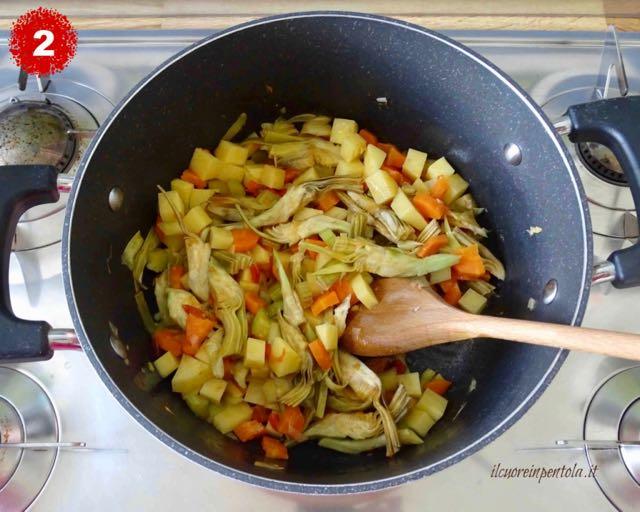 aggiungere carciofi e patate