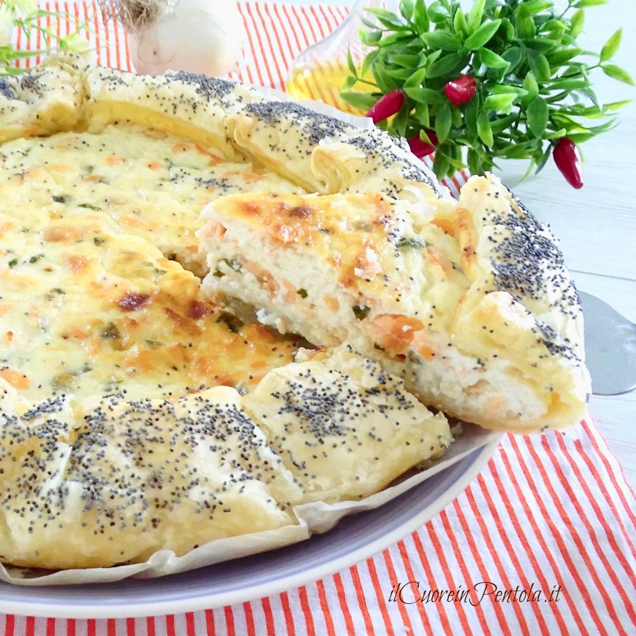 torta salata con salmone e ricotta