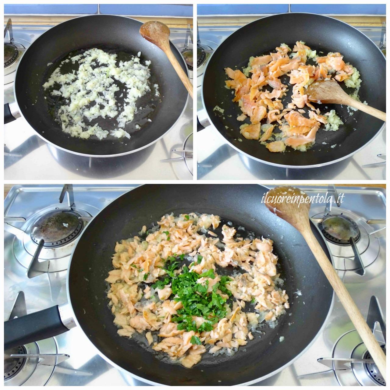 rosolare cipolla e salmone