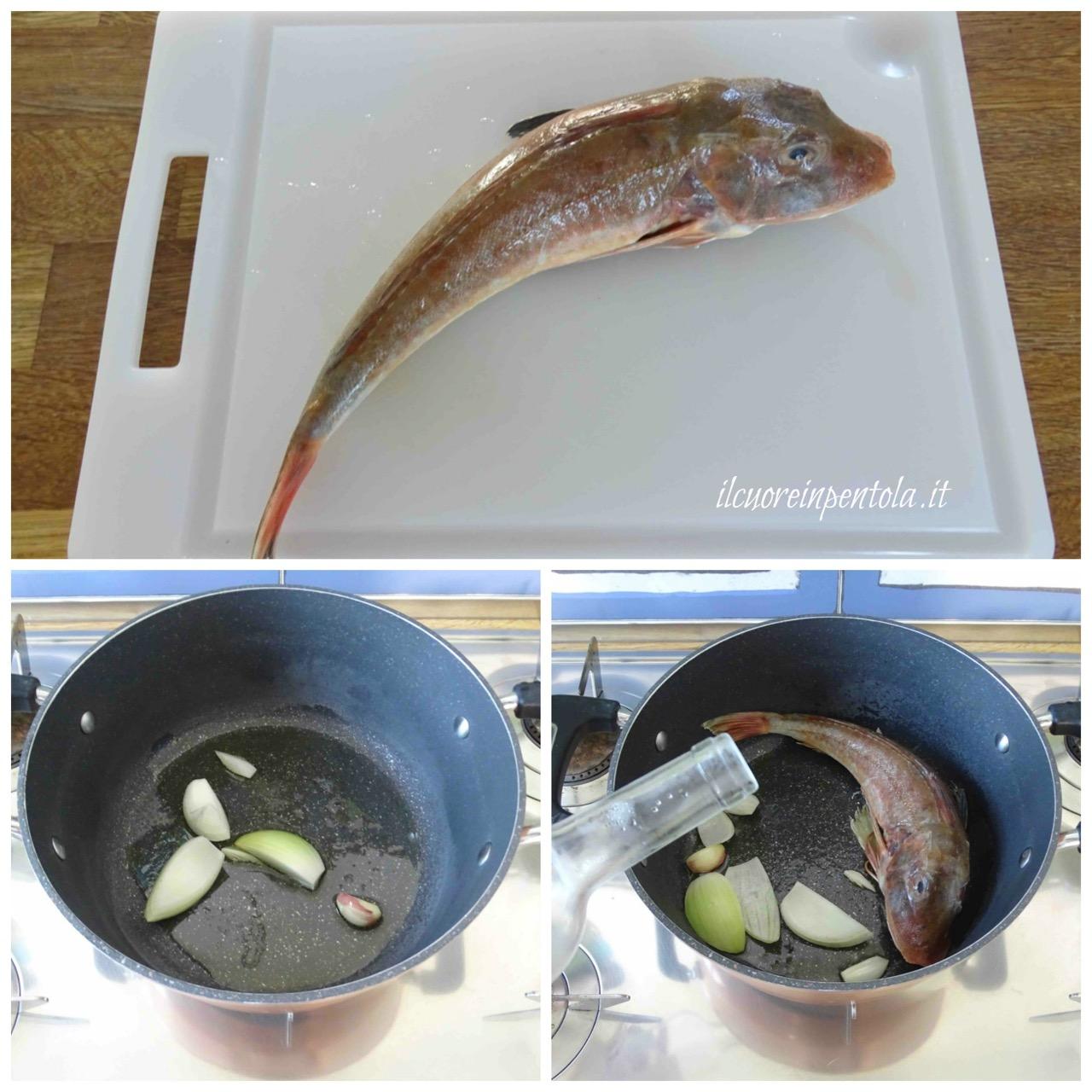 rosolare pesce e sfumare con vino