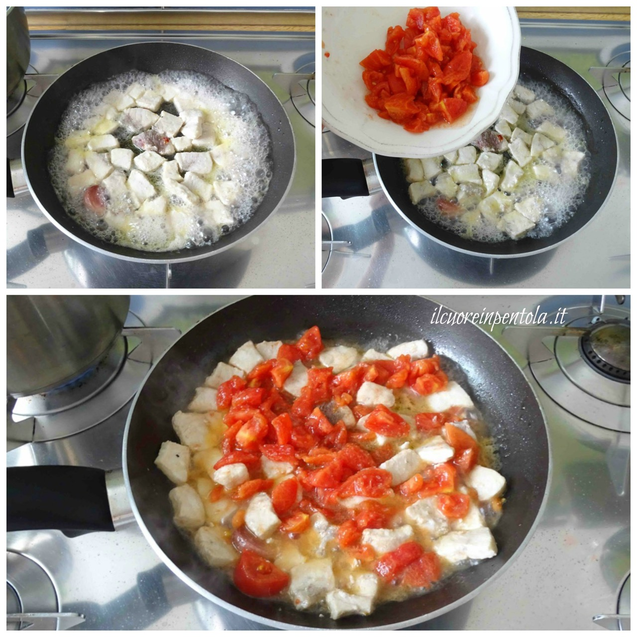 aggiungere pomodori spellati oppure pomodorini