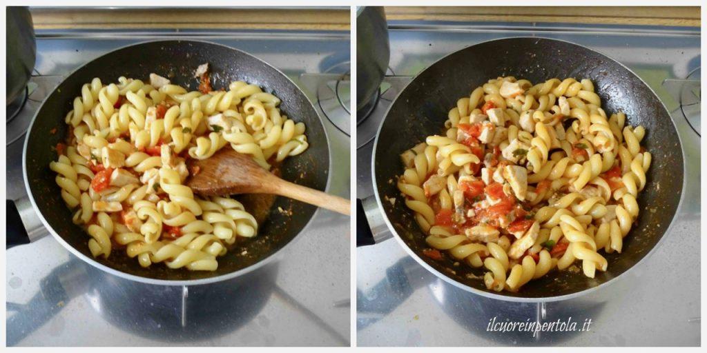 mantecare pasta con sugo di pesce spada