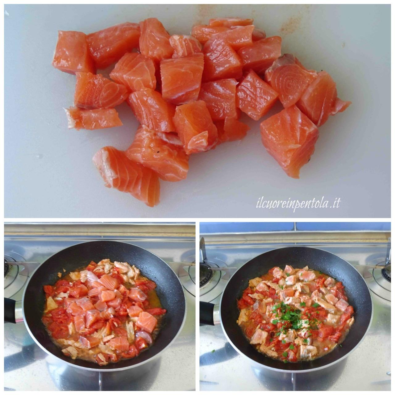 aggiungere salmone e cuocere