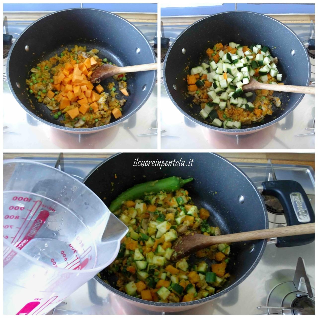 aggiungete zucca e zucchine