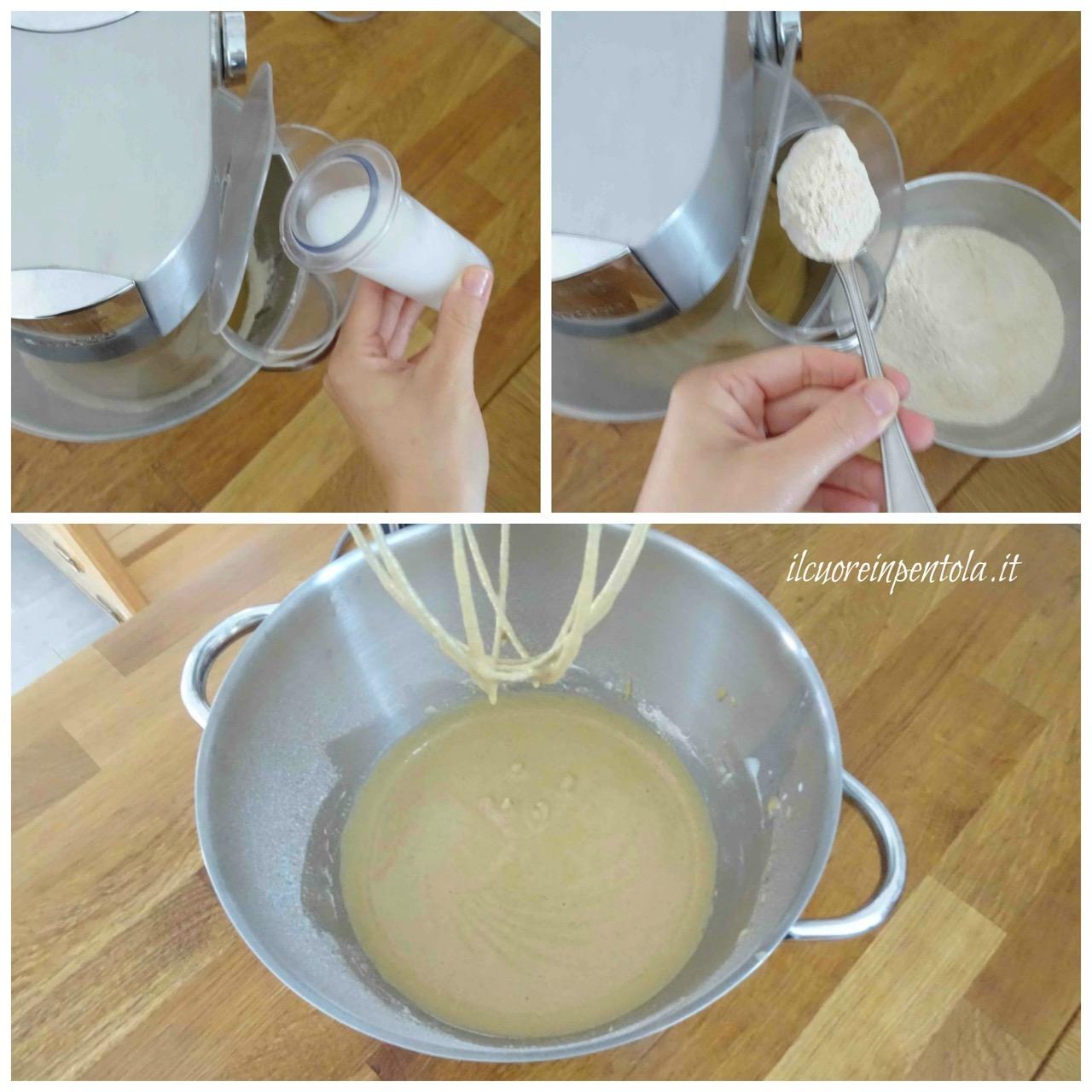 aggiungere farine e latte