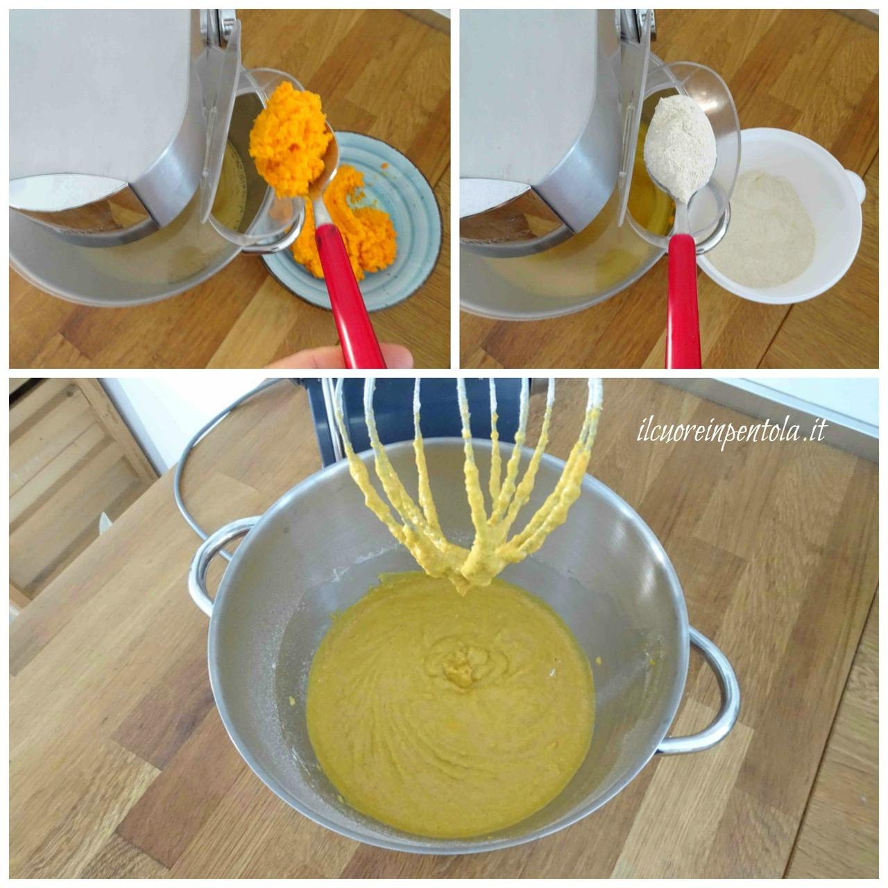 aggiungere purea di carote e farina