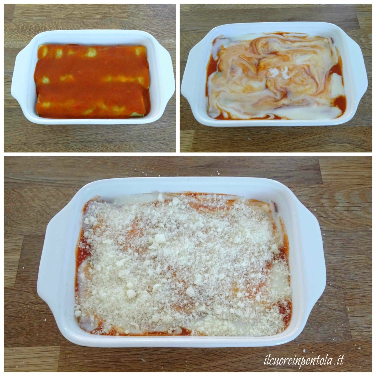 aggiungere besciamella e formaggio