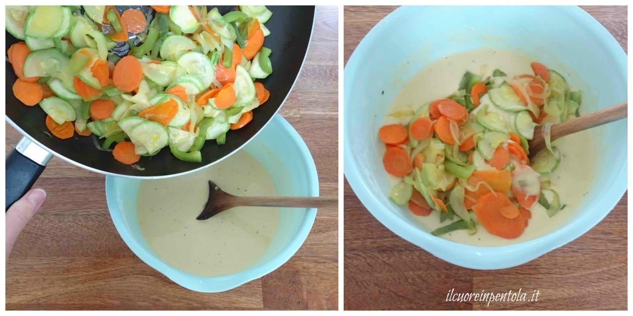 versare verdure nella pastella