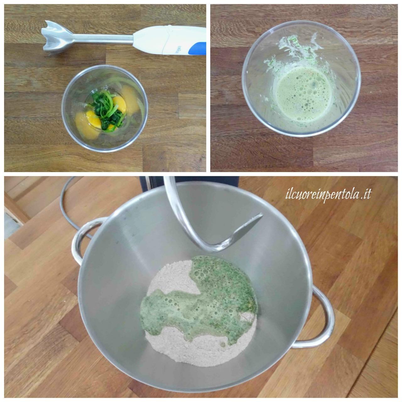 frullare uova e spinaci
