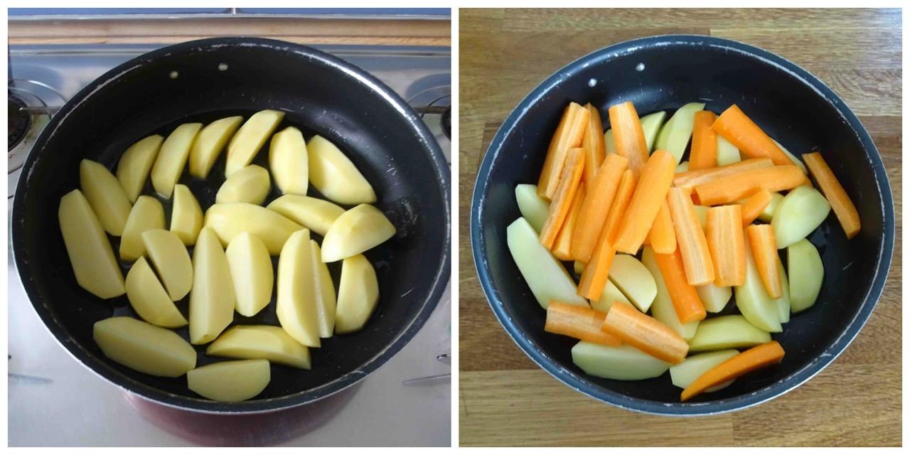 pelare e tagliare patate e carote