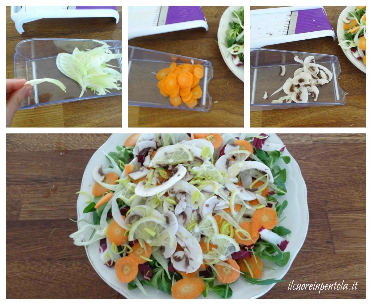 affettare finocchi e carote