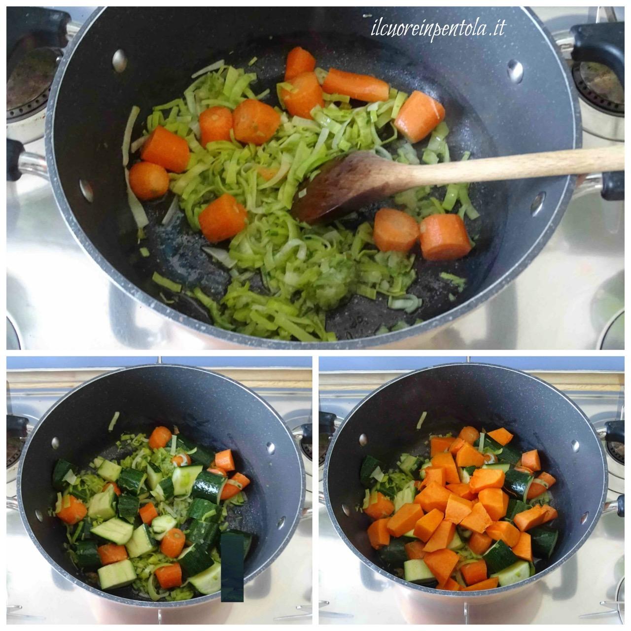 fare soffritto e aggiungere verdure