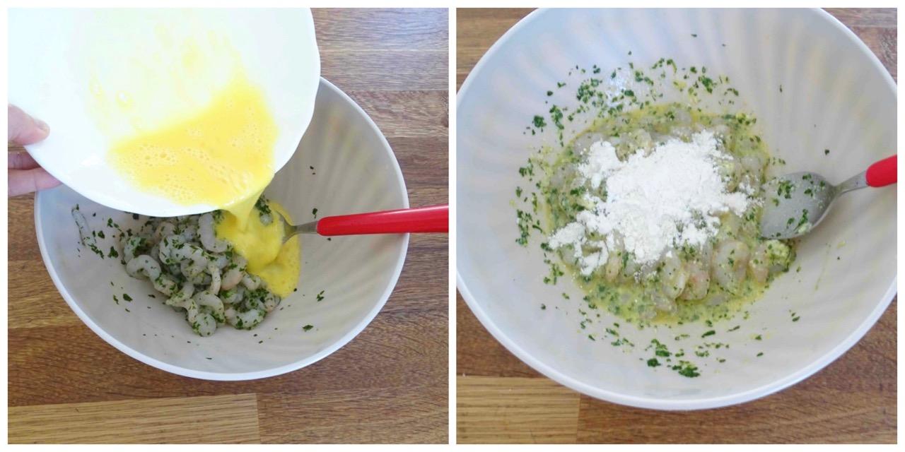 aggiungere uovo e farina
