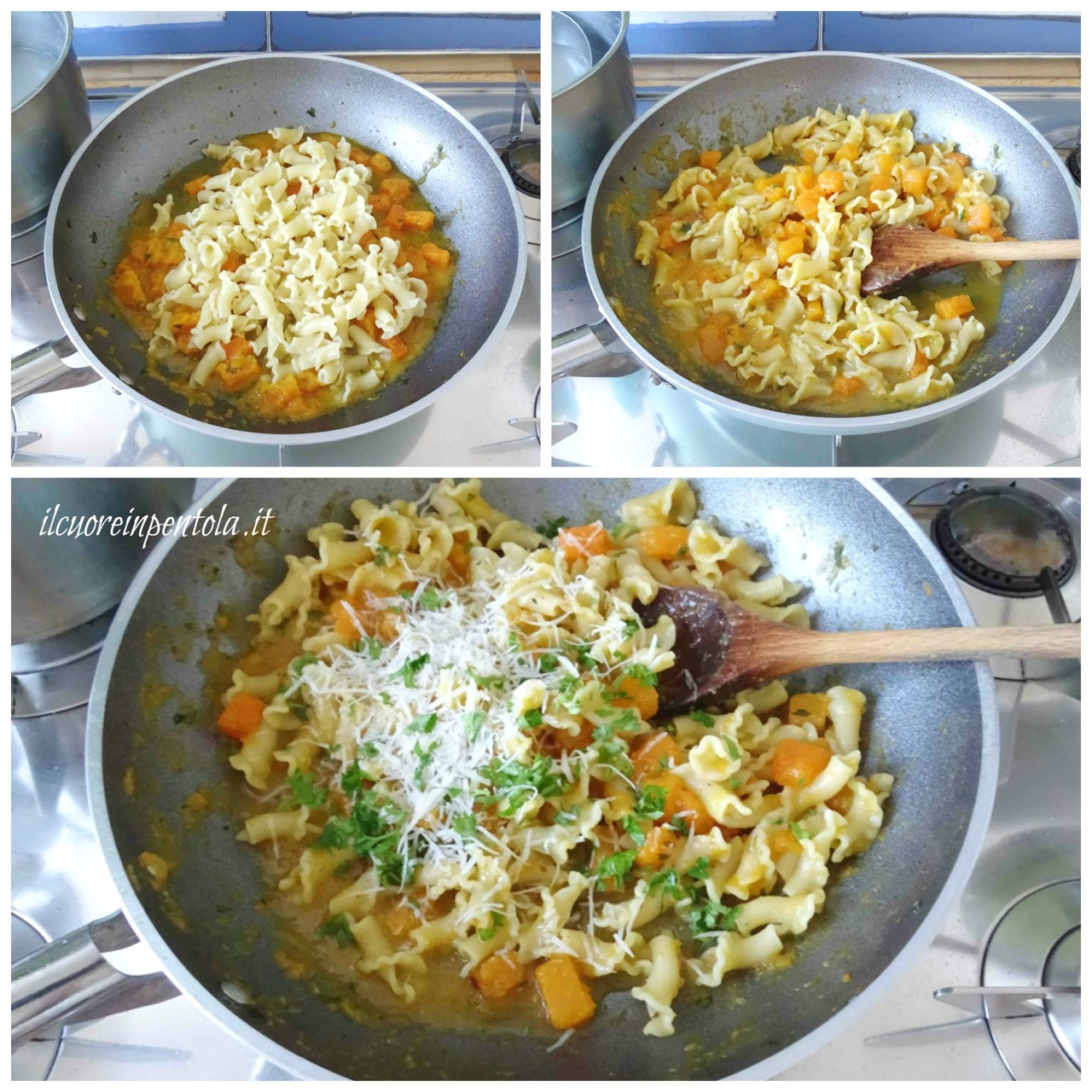 mantecare pasta e zucca