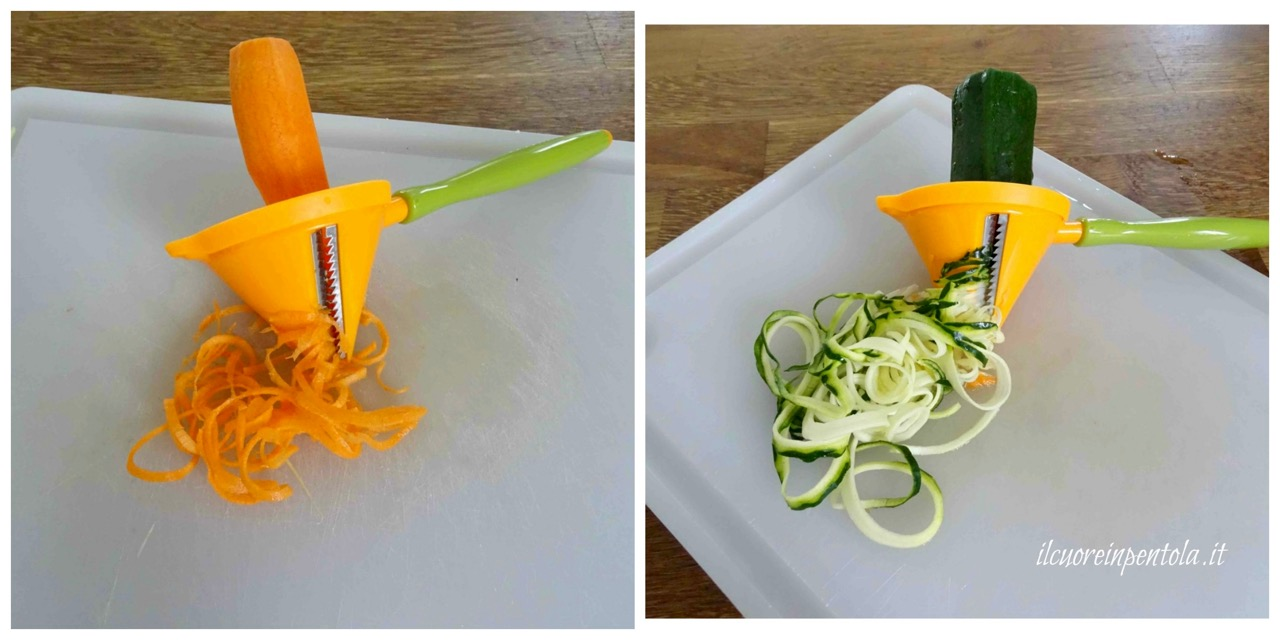 tagliare carota e zucchina