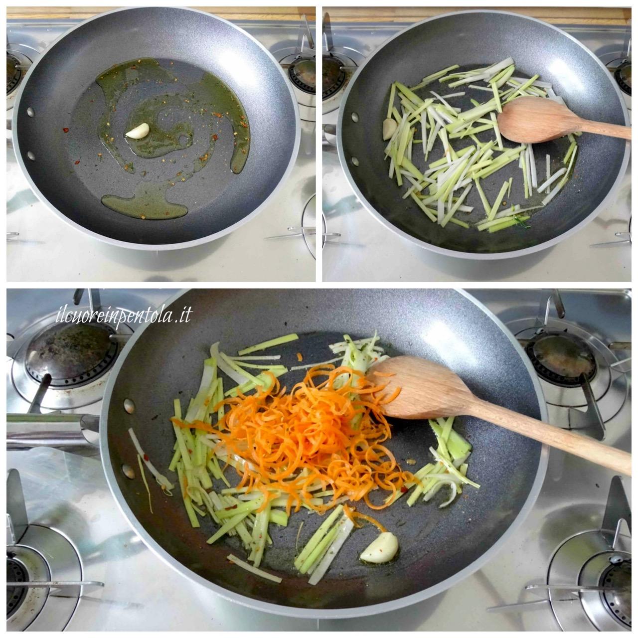 saltare in padella porro carote e zucchine