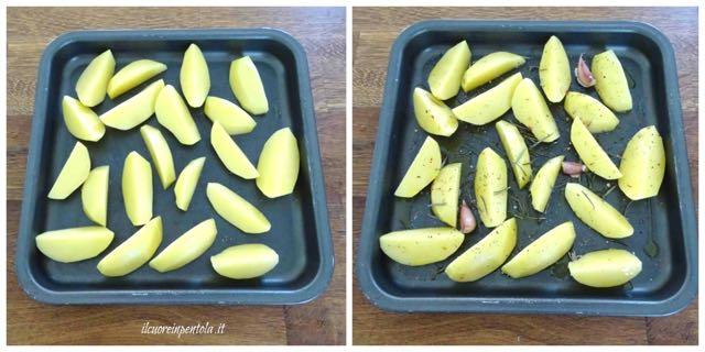 tagliare patate e condire