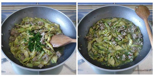 aggiungere carciofi e cuocere