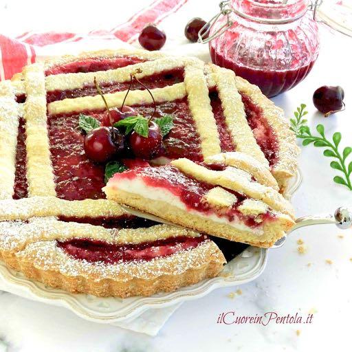 crostata ricotta e marmellata di ciliegie