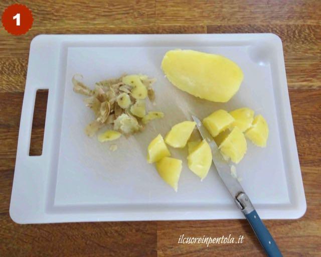 pelare e tagliare patate