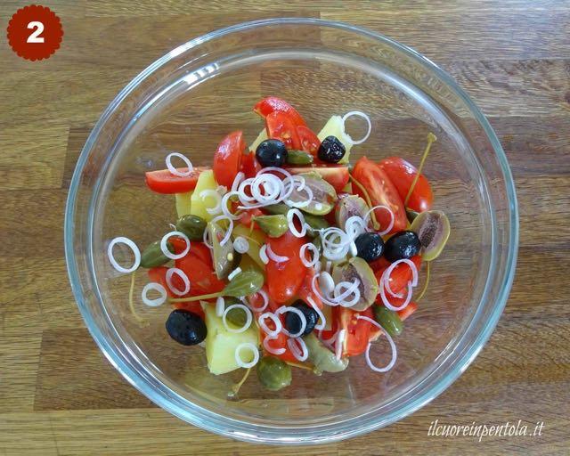 aggiungere pomodori, olive e capperi
