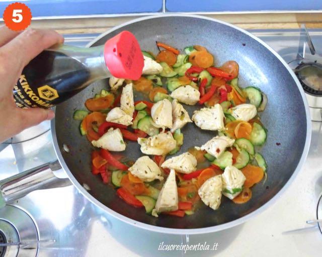 sfumare con salsa di soia