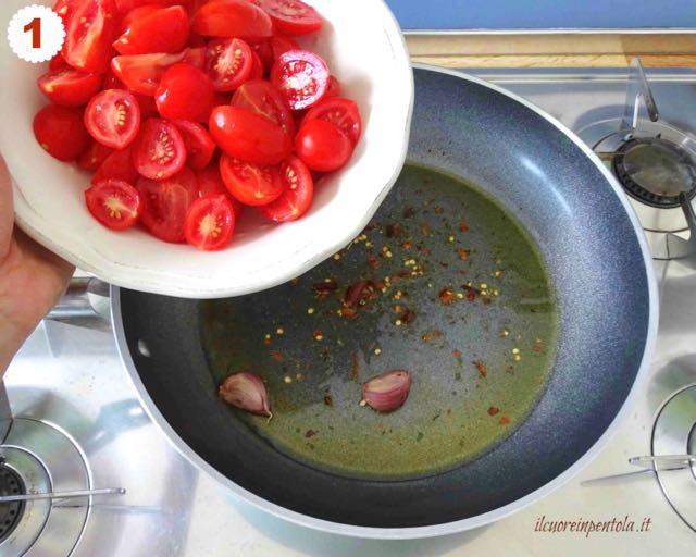 fare soffritto e aggiungere pomodorini
