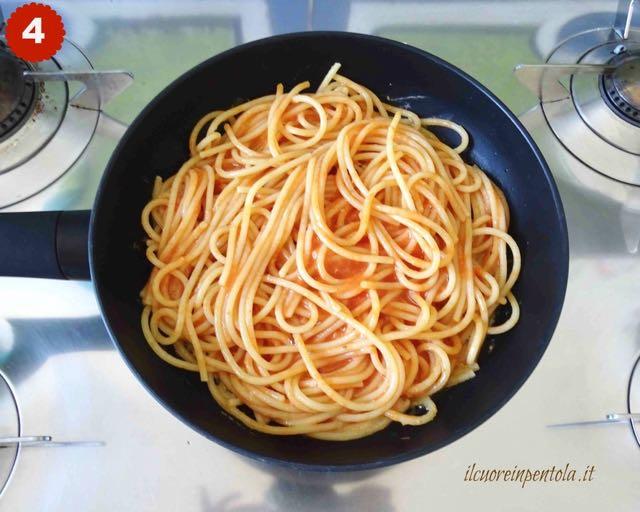 versare spaghetti nella padella