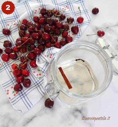 mettere ciliegie in un barattolo