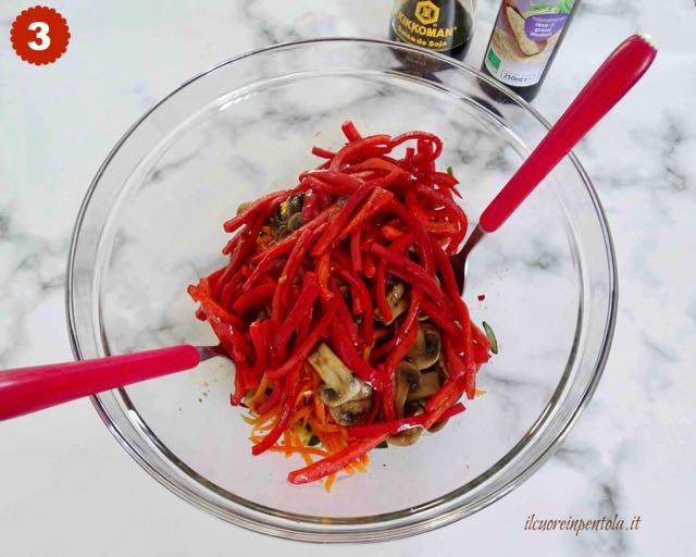 condire verdure con olio di sesamo e salsa di soia